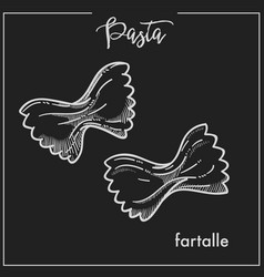 Pasta farfalle chalk sketch for italian cuisine vector