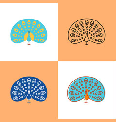 Peacock icon set in flat and line styles vector
