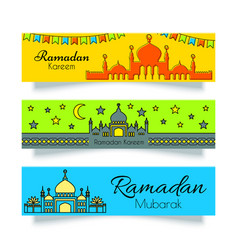 Ramadan banners or headers set vector