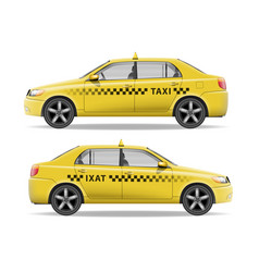 realistic yellow taxi car car mockup isolated vector image