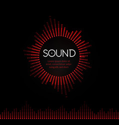 Red round musical sound logo soundtrack recording vector