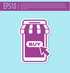 retro purple mobile phone and shopping cart with vector image