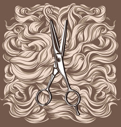 Retro scissors against the background of the hair vector
