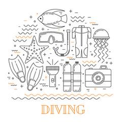 Scuba diving line art background vector