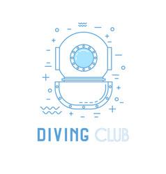 Scuba diving line art vector