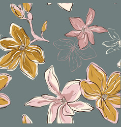 Seamless floral pattern in tender blue green vector