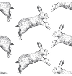 Seamless pattern with hares vector