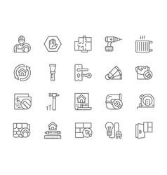 Set home renovation line icons repairman vector