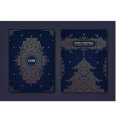 set new year christmas gold invitations vector image
