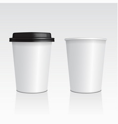 Set of realistic blank mock up paper cups vector