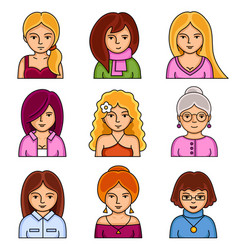 set of woman stylish avatars for profile page vector image