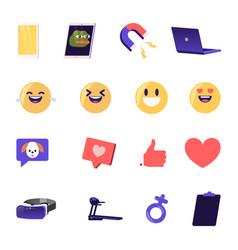 set social media icons emoji smiles expressing vector image