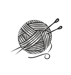 skein wool yarn with needles knitting vector image