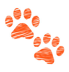 Sketched cat footprints stylized scratched cat vector