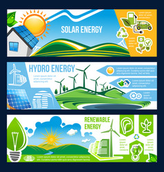 Solar wind and hydro energy banner of green power vector