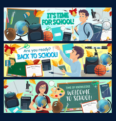 Student with school supplies education banners vector
