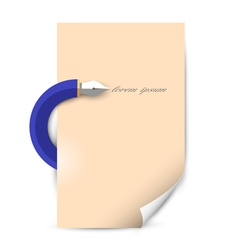 Stylized writing pen with blank paper sheet vector
