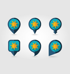 Sun flat mapping pin icon with long shadow vector
