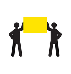 two men holding poster in hands silhouette icon vector image