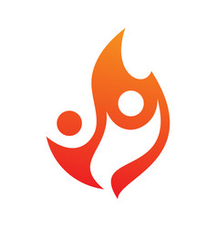 two people fire icon in abstract style on the vector image