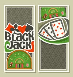 Vertical banners of black jack for text vector