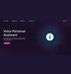 voice assistant landing web page template with vector image