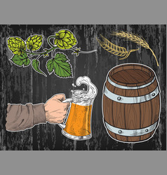 watercolor hand holding with beer mug barrel vector image