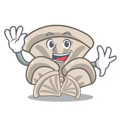 Waving oyster mushroom character cartoon vector