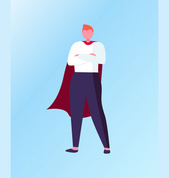 winner standing in superhero suit business vector image