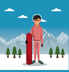 Winter mountain landscape poster with skiere woman vector