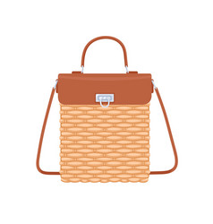 Women summer basket bag with leather flap handle vector