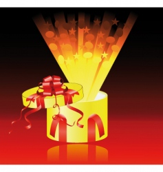 yellow gift box surprise vector image vector image