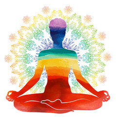 yoga rainbow watercolor silhouette vector image