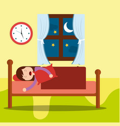 Young girl asleep in bed hug a pillow at night vector