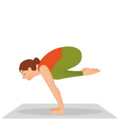 young woman working out indoors doing yoga vector image