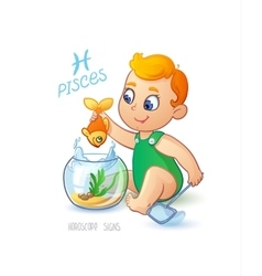 Zodiac sign PISCES Cute baby boy fishes in the vector