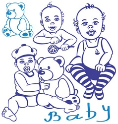 Baby and teddy vector