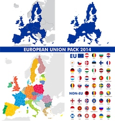 European union map and flags pack vector image