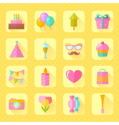 Festive birthday flat icons set vector