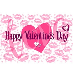 Romantic Card with Heart consist of Prints of Lips vector image vector image