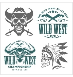 Set of vintage cowboy emblems labels badges vector image vector image