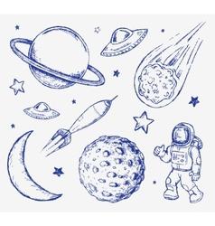 Space doodle set elements vector image vector image