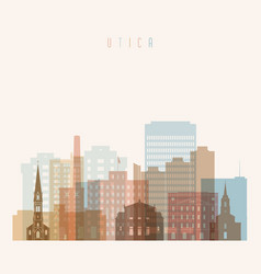 utica state new york skyline detailed silhouette vector image