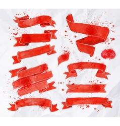 Watercolors ribbons red vector image