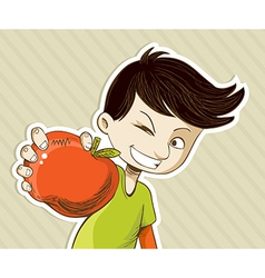 Cartoon boy with red apple vector image