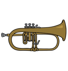 Classic brass trumpet vector image vector image