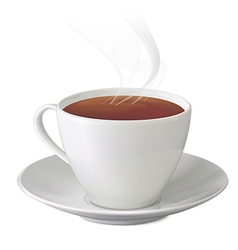 Cup of hot tea with steam and saucer vector image vector image