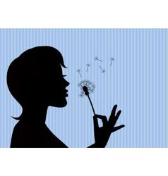 girl blowing on a dandelion vector image vector image