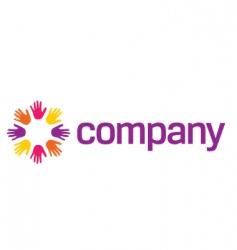 holding hands logo for social vector image