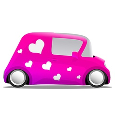 love and heart mini cartoon car pink vector image